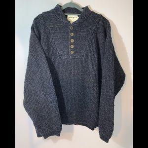 Eddie Bauer 100% Cotton Grey Knit Sweater Size L